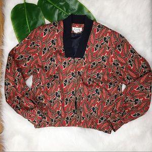 ✨ Vintage ✨ Women's Paisley Zip Up Bomber Jacket